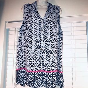 Dress Barn navy/white sleeveless top